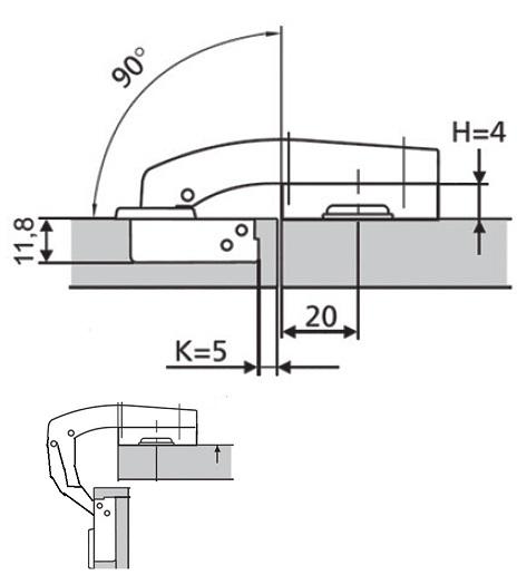 чертёж: мебельная петля 90