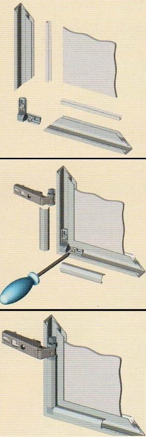 схема сборки фасадного профиля, мебельная фурнитура, комплектующие для мебели