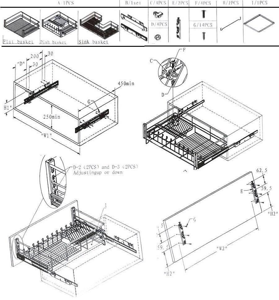 Инструкция монтажа корзин без крепления фасада с доводчиком