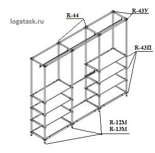 Пример стеллажа из системы труб Джокер