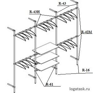 Пример гардеробной из системы труб JOKER.