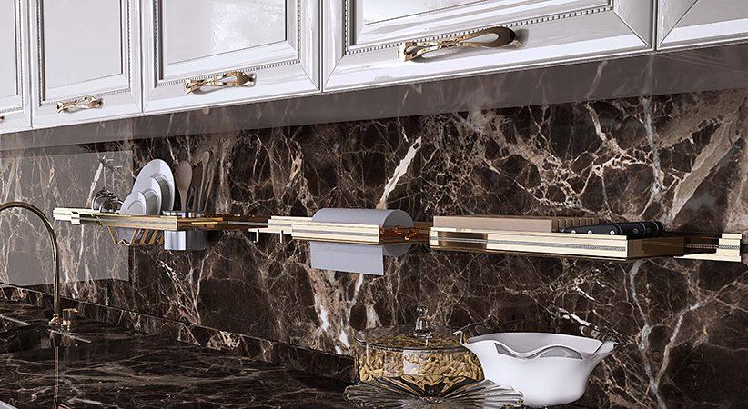 Изображение пример применения рейлингов для кухни золото Barra Италия.