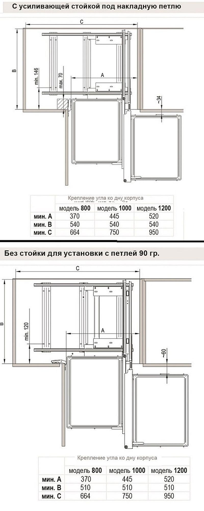 Схема и чертеж установки Корзина выдвижной угол Комфорт